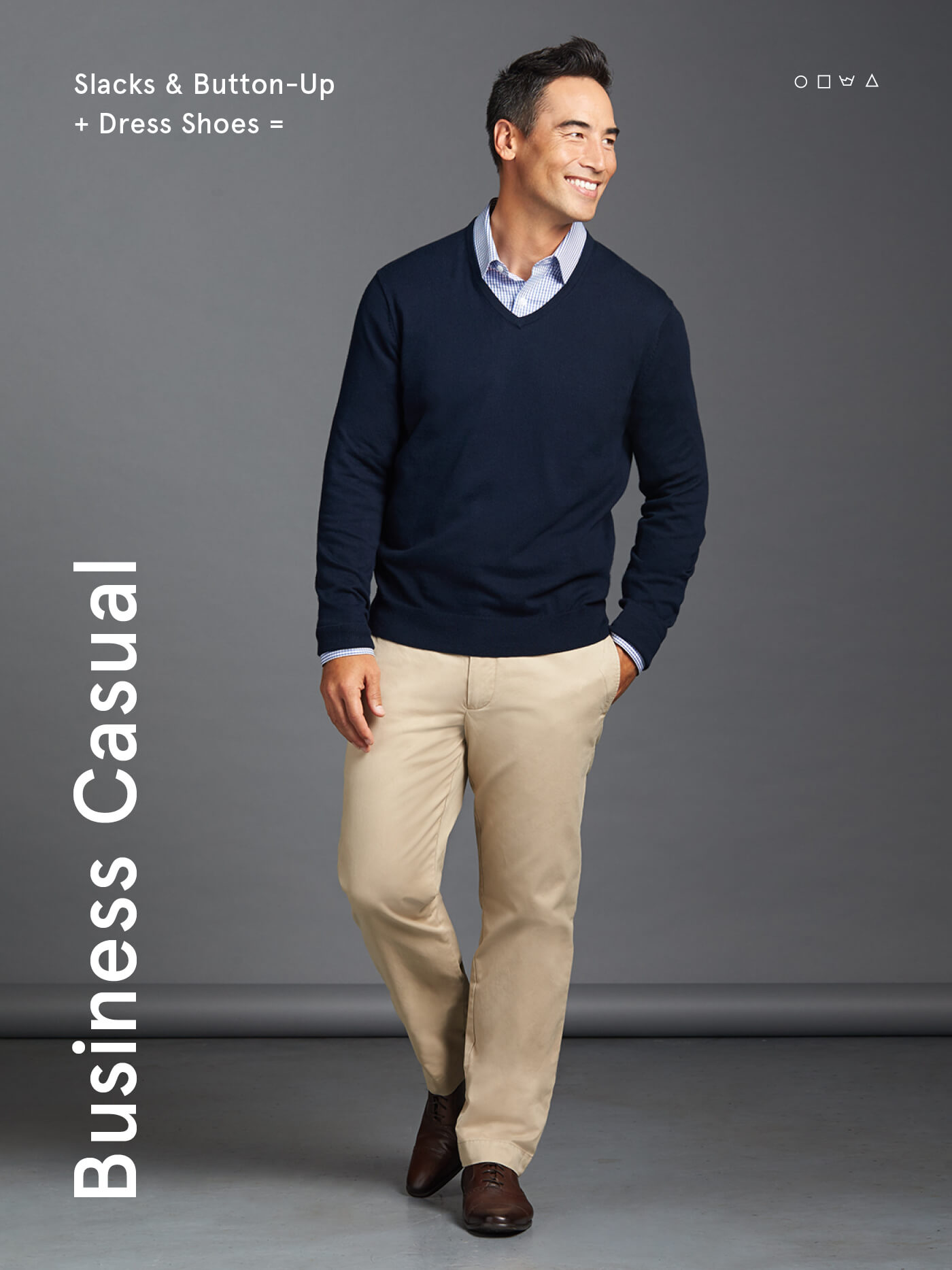 d00b6aaae541 what is business casual for men  slack and a button-up with dress shoes