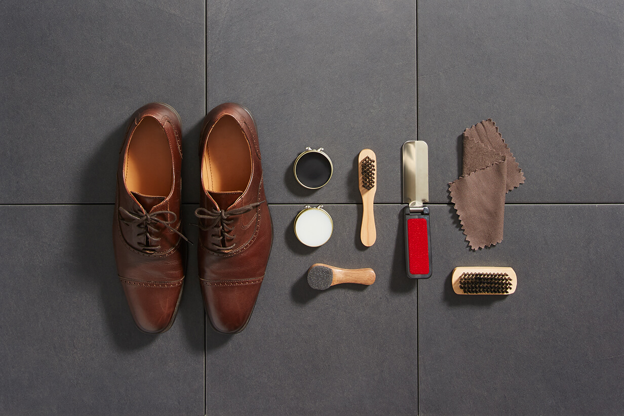 all the tools you need to shine a shoe