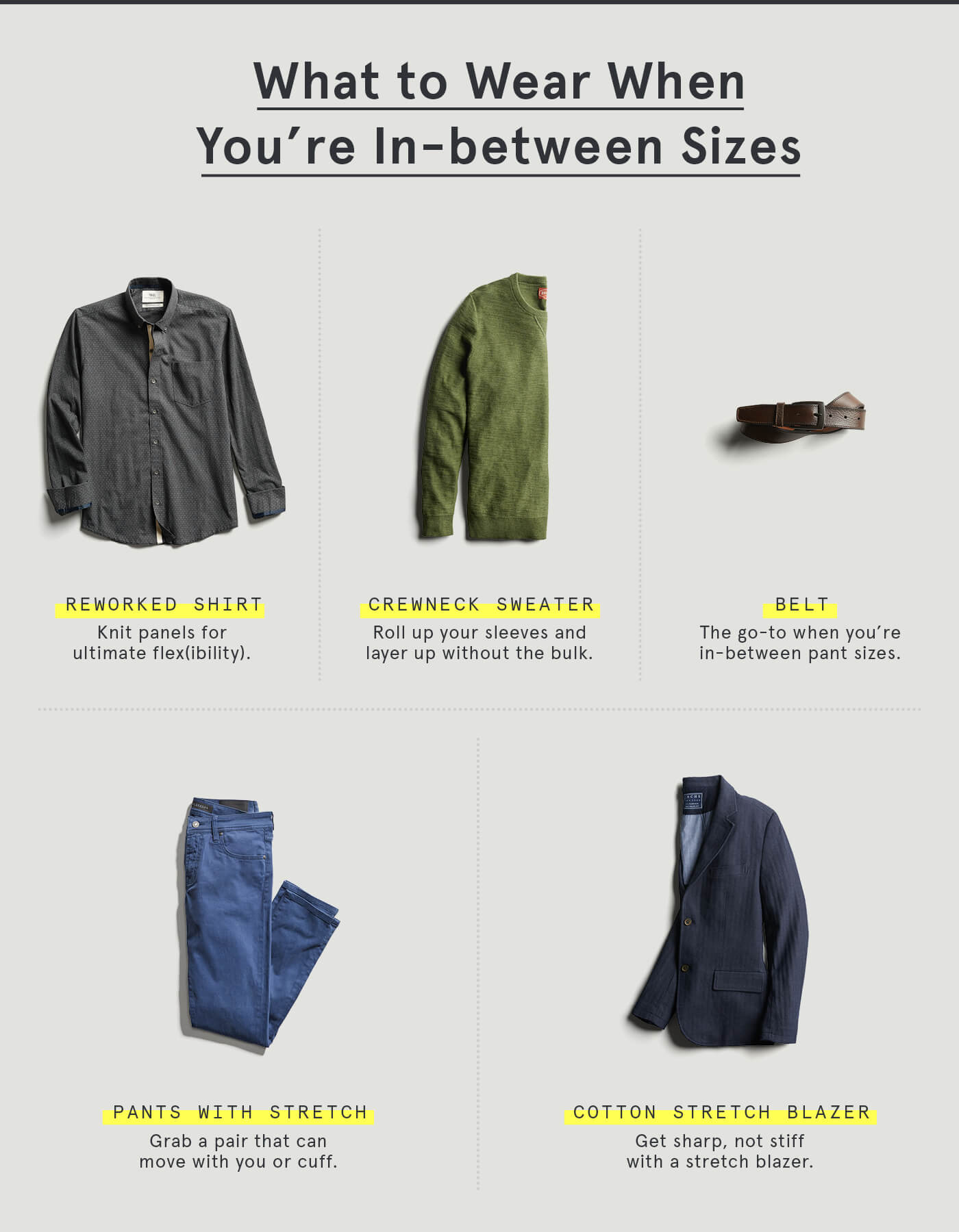 What to wear in between sizes