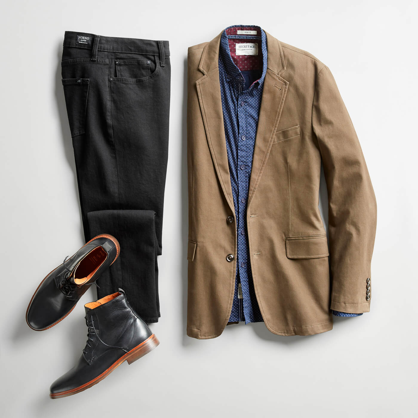 tan blazer and black boots