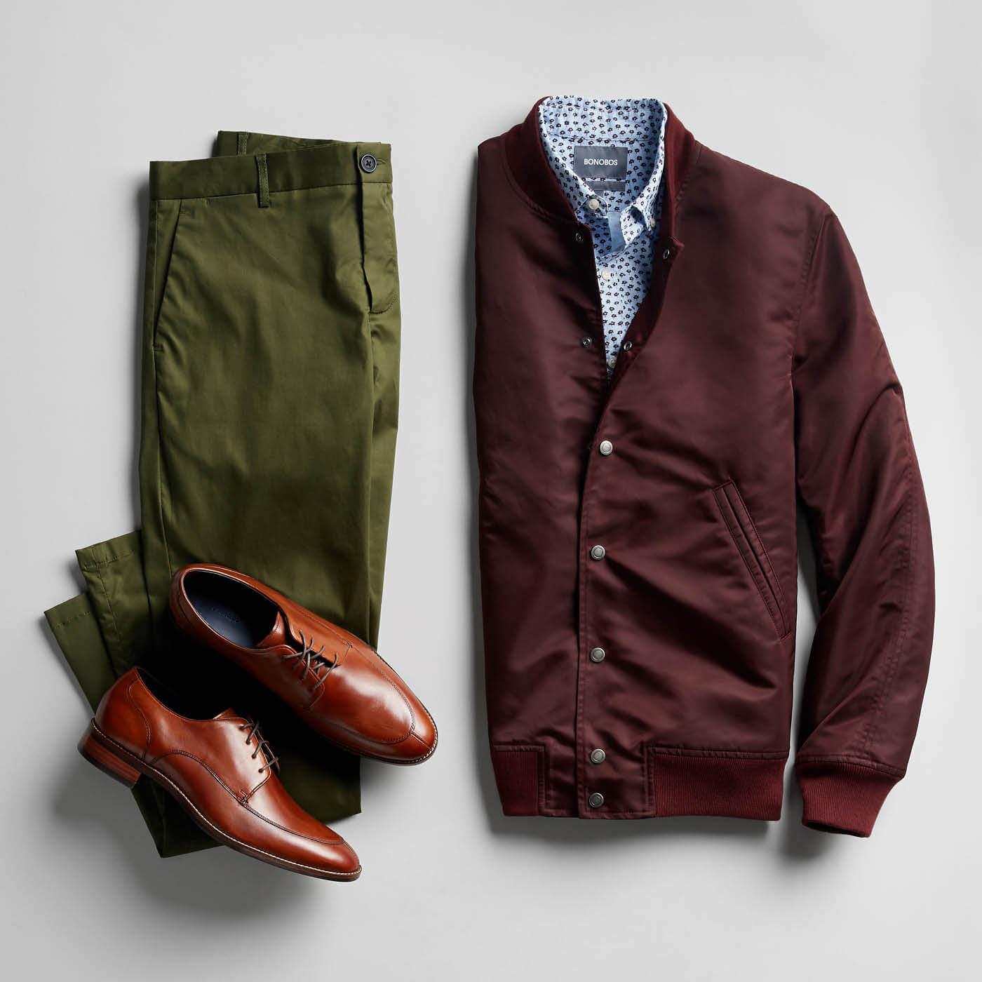 maroon jacket green pants