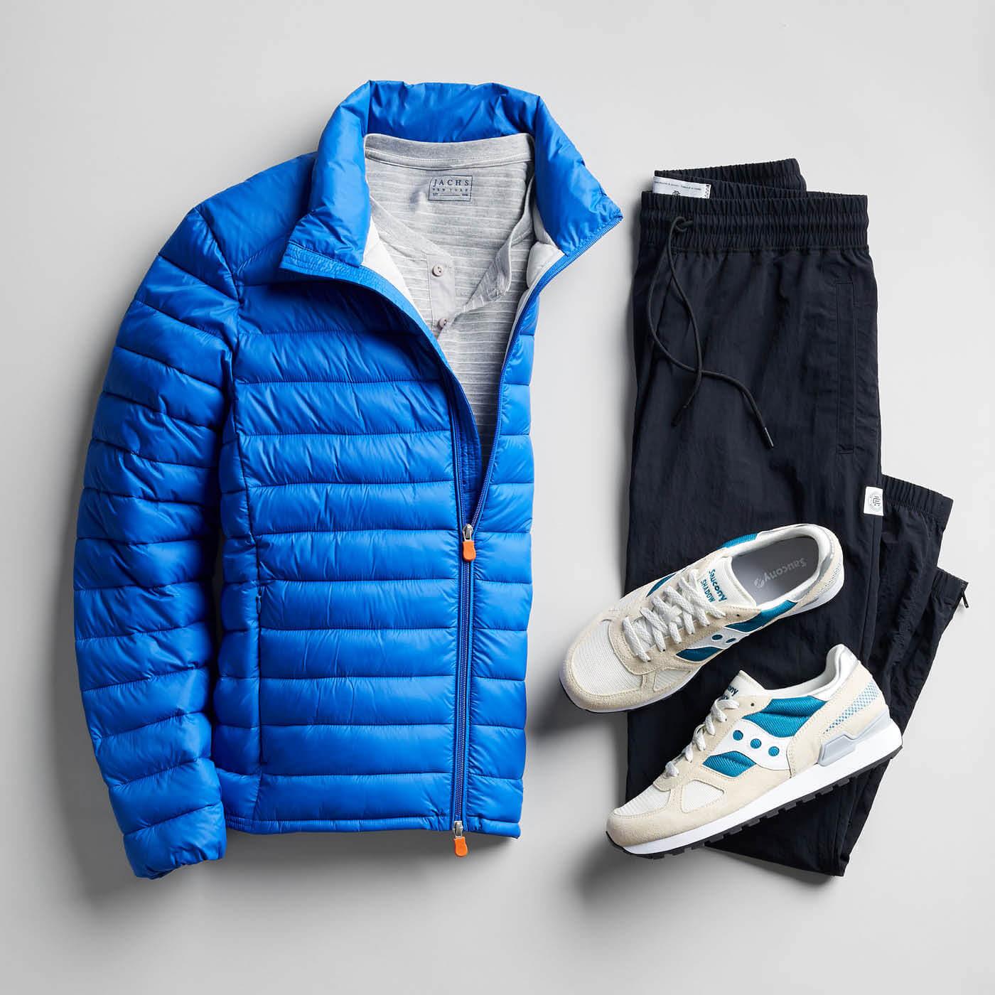 blue jacket black pants