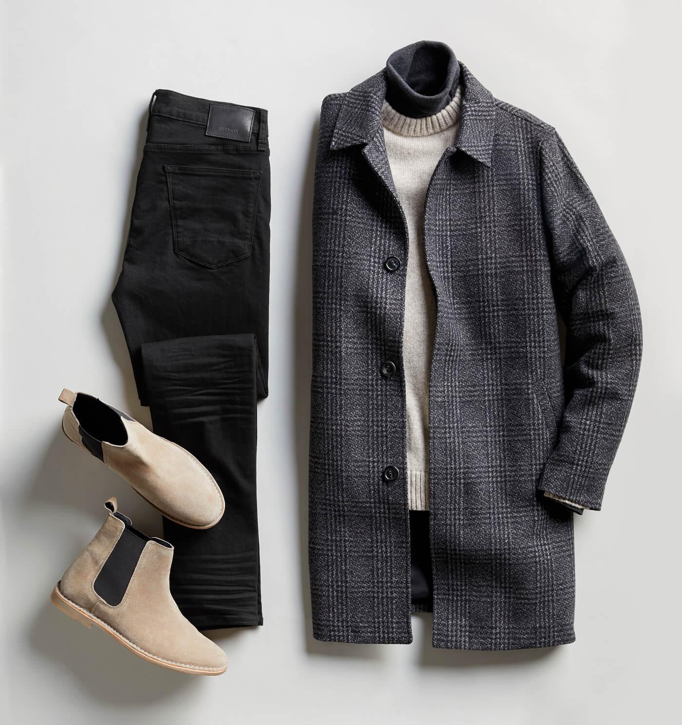 black coat and black pants