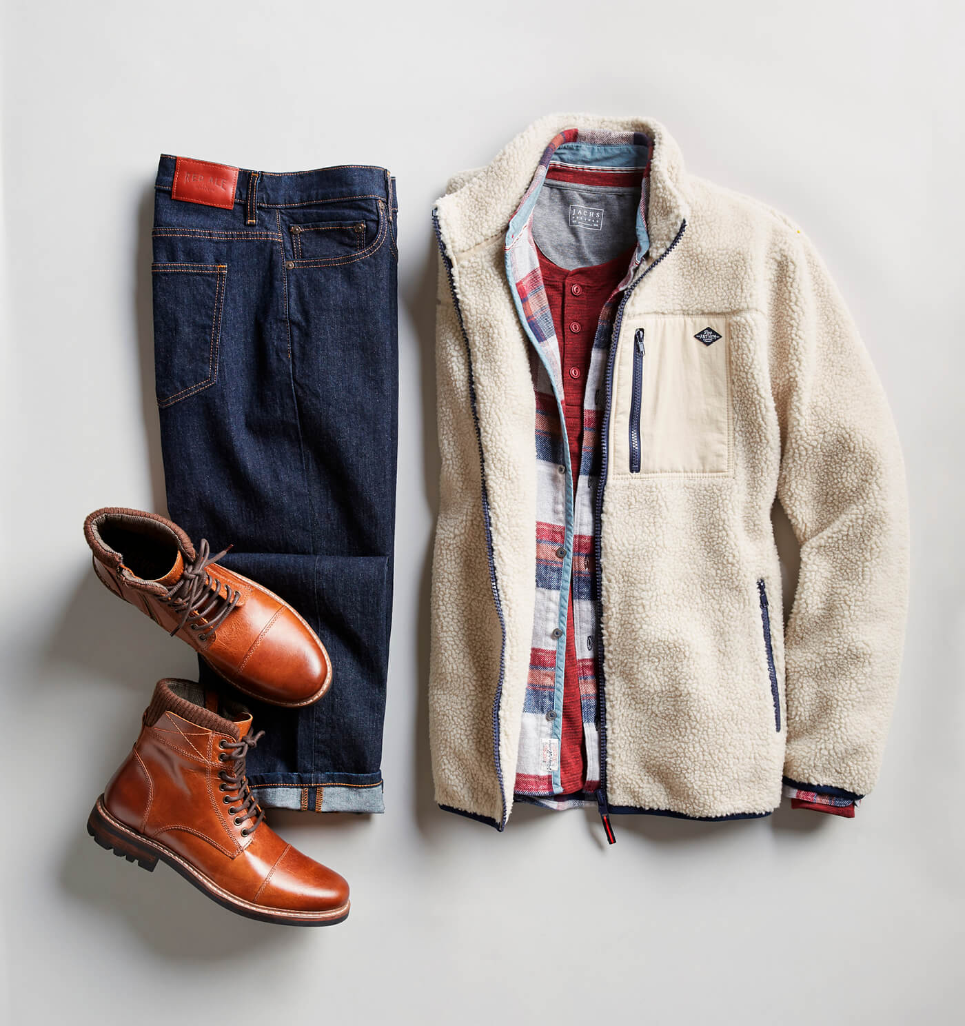 white shearling and dark wash jeans