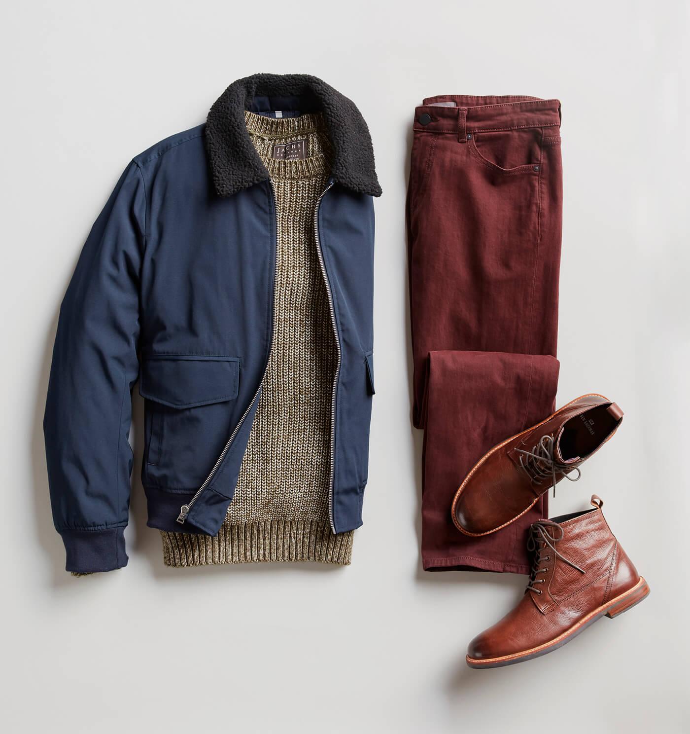 shearling bomber and maroon pants